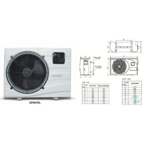 Optima medence fűtő-hűtő hőszivattyú 14,7kW-os teljesítménnyel